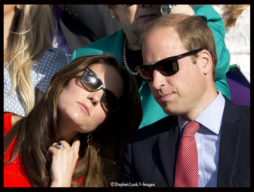 Image licensed to i-Images Picture Agency. 08/07/2015. London, United Kingdom. The Duke and Duchess of Cambridge in the Royal box  on Centre Court on day nine of the  Wimbledon Tennis Championships in London.  Picture by Stephen Lock / i-Images